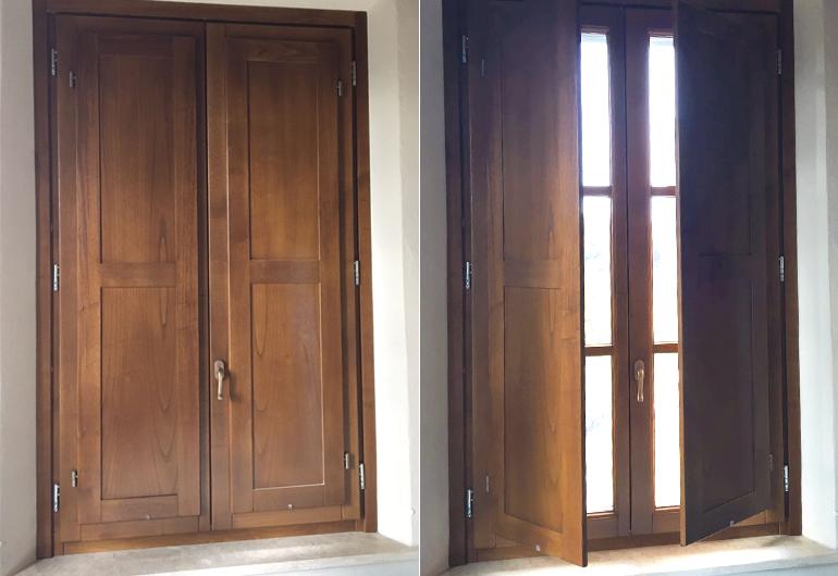 Inside wooden shutters